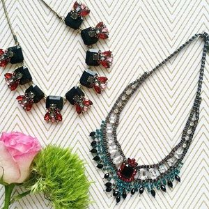 Teal & Ruby Gatsby Style Necklace